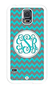 iZERCASE Samsung Galaxy S5 Case Monogram Personalized Dark Turquoise and Grey Chevron RUBBER CASE - Fits Samsung Galaxy S5 T-Mobile, Sprint, Verizon and International (White)