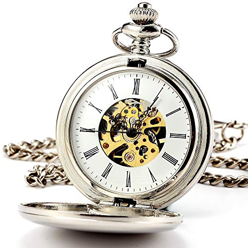 ManChDa Classic Mechanical Smooth Double Case Roman Numberals Pocket Watch Fob Gift for Men Women (5.Smooth Case Double HBH016)