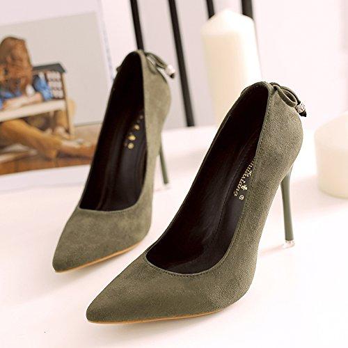 Xue Qiqi Tipp Ultra-dünne Frauen mit Schuhe mit satin Light von Nachtclubs und vielseitige Karriere mit einem einzigen Schuh 36 Army Grün [10]