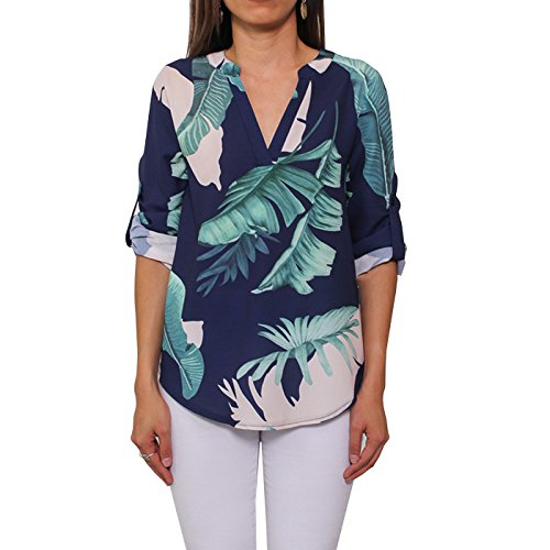 JJ&GG Women's Causal V Neck Cuffed Sleeves Floral Print Blouse Top (L, Leaf(navy - Leaf Print Navy