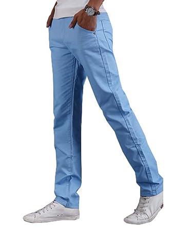 Homme Pantalons Slim Tissu Décontractés Chino Poches En Fit Straight ZrwZv