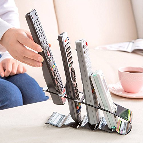 Metal Four Lattice Remote Storage Rack TV DVD VCR Step Remote Control Mobile Phone Holder Stand Storage Organiser Tools ()