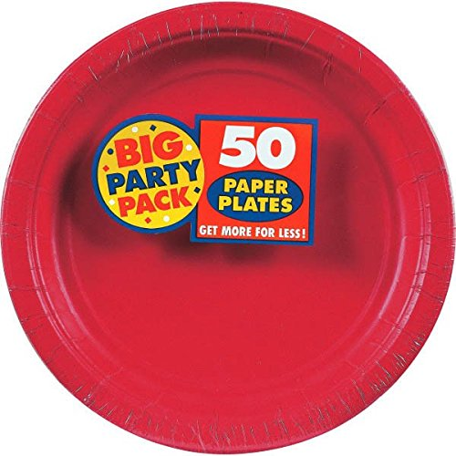 Amscan Big Party Pack Paper Dinner Plates, 50 Pieces, Made from Paper, Apple Red, 9'' by by Amscan