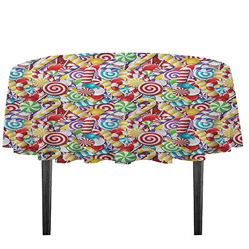 kangkaishi Candy Cane Washable Tablecloth Bonbons Lollipops Sugary Treats Sweeties Colorful Pile for Festive Occasions Desktop Protection pad D51.18 Inch Multicolor]()