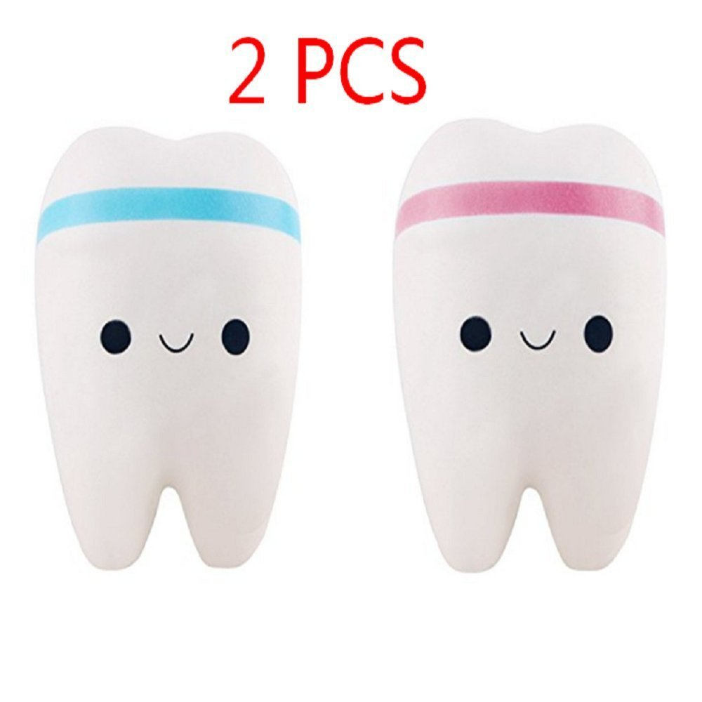1pcs Randomly Color Cute Cartoon Tooth Pendant Squishy Toys Slow Rebound Stress Reliever Toys Hemore