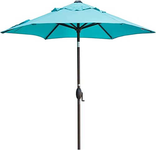 Abba Patio Outdoor Umbrella 7-1 2 ft. Table Umbrella with Push Button Tilt and Crank Lift, Turquoise