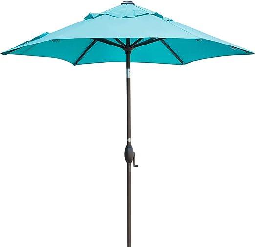 Abba Patio 7-1/2 ft. Paraguas redondo para patio con botón de ...
