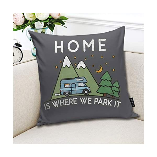 51K0RPrYh8L QMS CONTRACTING LIMITED Throw Pillow Cover Camping Home is Where We Park It Campervan Gift Decorative Pillow Case Home…