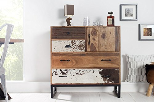DuNord-Design-Kommode-Sideboard-Anrichte-TEXAS-90-cm-Kuhfell-Patchwork