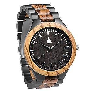 Treehut Men's Zebrawood Wooden Black Stainless Steel Watch Quartz Analog with...