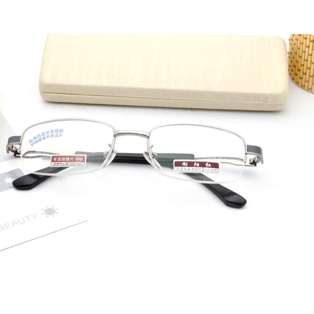 Gafas de Lectura para de Hombres Montura de para Metal Plateado Montura Completa luz Anti-Azul Espejo de visión lejana Gafas de Resina 100 ° -400 ° Gafas Mayores b1624d