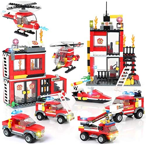 Building Blocks Fire Station City Coastline Emergency Rescue Team, Exercise N Play Creative DIY Consturction City Fire House Toys Set for Boys Girls 6 7 8 9 10 11 12 Years with Storage Bucket