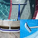 "SOXDirect Swimming Pool Brush 18"" or Swimming Pool Pole 1.6-3.3 Feet - Aluminum Side Pool Clean Brush Nylon Bristles Adjustable Telescopic Pole - Designed for Cleaning Walls/Tiles/Floors"