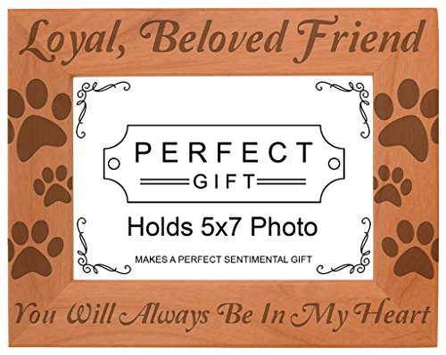 Pet Memorial Gift Remembrance of Dog or Cat Natural Wood Engraved 5x7 Landscape Picture Frame - Pictures Cats Dogs
