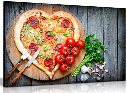 Pizza Heart Tomato Restaurant Food Canvas Wall Art Picture Print (30x20in)