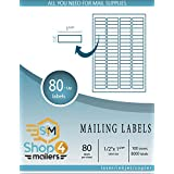 """Shop4Mailers 80-Up White Shipping Labels 1/2"""" x 1 3/4"""" ~ 100 Sheets, 8000 Labels"""