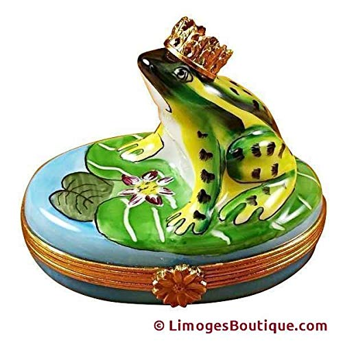 FROG WITH CROWN - LIMOGES PORCELAIN FIGURINE BOXES AUTHENTIC IMPORTS ()