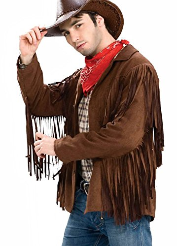 Buffalo Bill Costumes (Forum Novelties Men's Buffalo Bill Fringed Costume Jacket, Brown,)