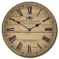 Barnwood Tan Wall Clock, Available in 8 Sizes, Most Sizes Ship The Next Business Day,