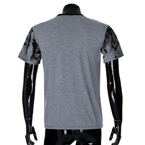 niños impresión Tops Camisa de de blusa corta Camisetas Hombre grandes Camiseta zarupeng de verano manga deportivas Gris de Tees algodón tallas casuales wfXaqgUq