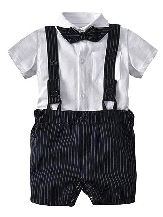 f956dd569 Minetom Bebés 3 Pcs Trajes De Bautizo Camisa Bow Tie Top + Tirantes Shorts  Correa Niños Formales Fiesta Outfit Gentleman Clothing Sets 0-24 Mes   Amazon.es  ...
