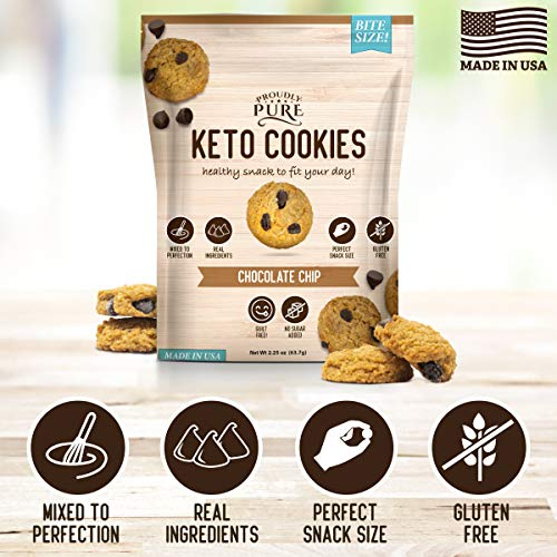 Proudly Pure Mini Bite Size On the Go 3 Pack Keto Cookie Chocolate Chip Snacks - Healthy Low Carb, Diet Friendly, Tasty and Delicious Gluten Free Food Treats Made With Real All Natural Ingredients 3