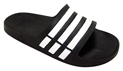 75fec2028 Image Unavailable. Image not available for. Color  adidas Duramo Slide  Sandal Black White Black ...
