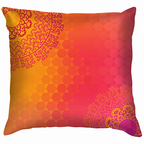 Ethnic Colorful Henna Mandala Design Very Pillow Case Throw Pillow Cover Square Cushion Cover 18X18 Inch