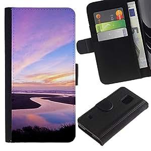 JackGot ( Natura Rosa Sky ) Samsung Galaxy S5 V SM-G900 la tarjeta de Crédito Slots PU Funda de cuero Monedero caso cubierta de piel