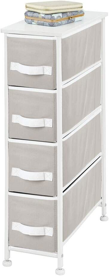 mDesign Narrow Vertical Dresser Storage Tower - Sturdy Metal Frame, Wood Top, Easy Pull Fabric Bins - Organizer Unit for Bedroom, Hallway, Entryway, Closet - 4 Drawers - Gray/White