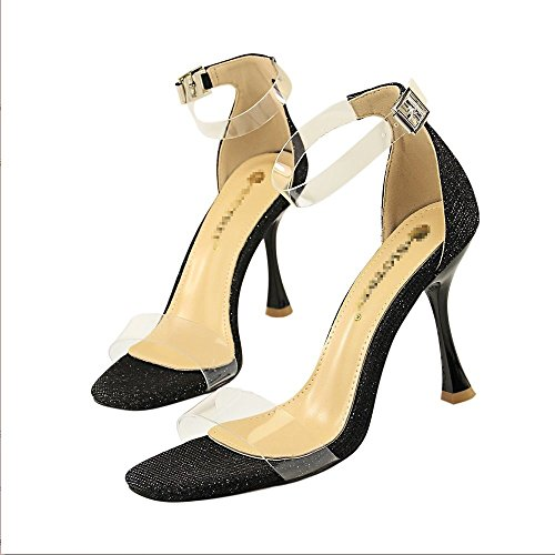 Las Fiesta Palabra Transparentexiaoqi Alto Boda Liangxie Hueco Cuadradas Sandalias Altos Punta De Brillantes Zapatos Tacón Abierta Mujer Mujeres Negro Tacones Cruzada HH16Xt
