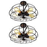 Ceiling Light, MKLOT Industrial Fan Style Wrought Iron Semi Flush Mount 18.11 Wide Ceiling Pendant Light Chandelier with 5 Lights – Environmentally Ceramics Caps(2 Pack)