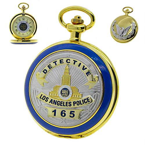 Police Badge 14K Gold Plating Pocket Watch Big Size 53 MM US Los Angeles Police Badge Cover with Fob Chain and Gift Box - Quartz Watch 14k Pocket