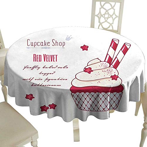 WinfreyDecor Polyester Tablecloth Hand Drawn red Velvet Cupcake with Doodle Buttercream for Pastry Shop menu Indoor Outdoor Camping Picnic D43]()