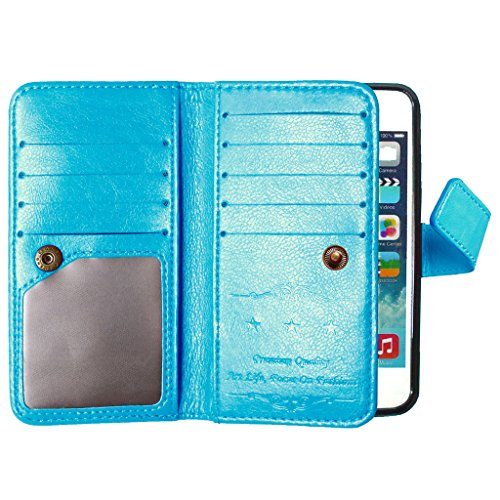 For Apple iphone 5 5s Coque Etui, Ougger Unique 9 [Slot pour Carte] & [Cadre Photo] Cuir Pochette Shell Housse Card Stand Flip Magn¨¦tique Sangle Bumper Protection Pur Couleur Bleu