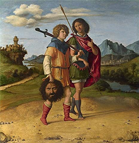 Oil Painting 'Giovanni Battista Cima Da Conegliano David And Jonathan ' Printing On Perfect Effect Canvas , 8 X 8 Inch / 20 X 21 Cm ,the Best Wall Art Decor And Home Artwork And Gifts Is This Cheap But High Quality Art Decorative Art Decorative Canvas - Aqua Stripe Wall Sconce