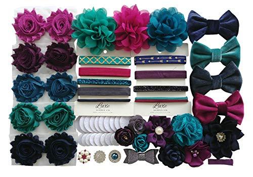 Jewel Tones DIY Headband Kit - Navy, Turquoise, Fuchsia, Charcoal, Plum - Makes 20 Headbands and 1 Clip! - Bridal Shower Headband Station - Birthday - DIY Craft Kit - Party Supplies - Wedding Party
