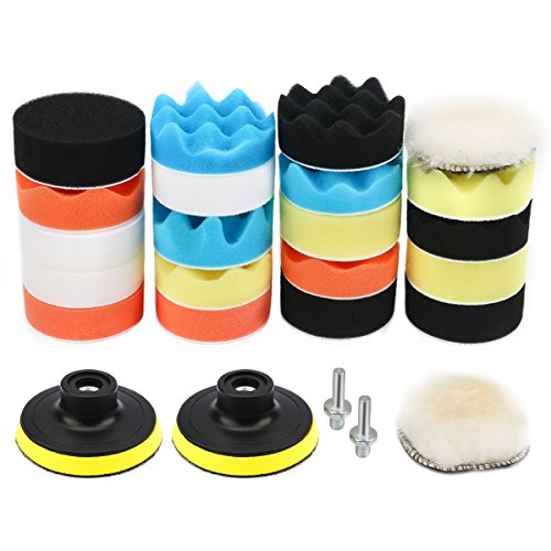 VERONES Car Foam Drill Polishing Pad Kit 25 PCS 3 Inch/80mm Buffing Pads, Waxing Polishing Sealing Glaze (Five Car Kit)