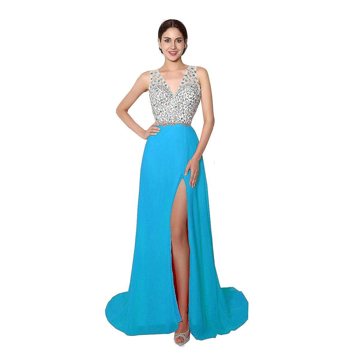 Light bluee Liaoye Deep V Neck Mermaid High Split Long Evening Dresses for Women Formal Maxi Party Prom Dresses