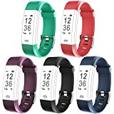Flenco ID115Plus HR Replacement Strap Adjustable Watch Band Silicone Bracelet Sport Wristband Accessory Stainless Buckle Band for ID115 Plus HR Fitness Tracker Heart Rate Monitor Pedometer