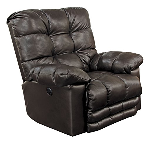 Catnapper Piazza Leather Touch Power Lay Flat Recliner in Chocolate
