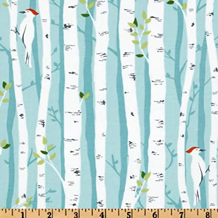 Charmant Michael Miller Backyard Baby Birch Forest Aqua Fabric By The Yard