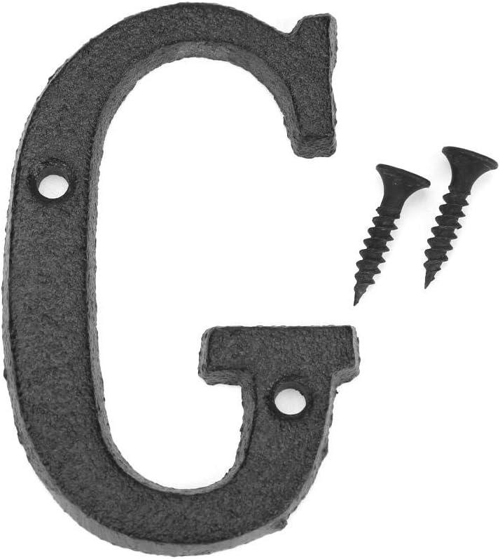 Rue Hausnummer mit Befestigungsschraube Buchstaben Domybest Haus-Alphabet aus Metall T/ürzeichen