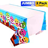 """2pack Baby Shark Table Cloth, Shark Baby Themed Birthday Party Decorations – Disposable Shark Plastic Tablecloth 