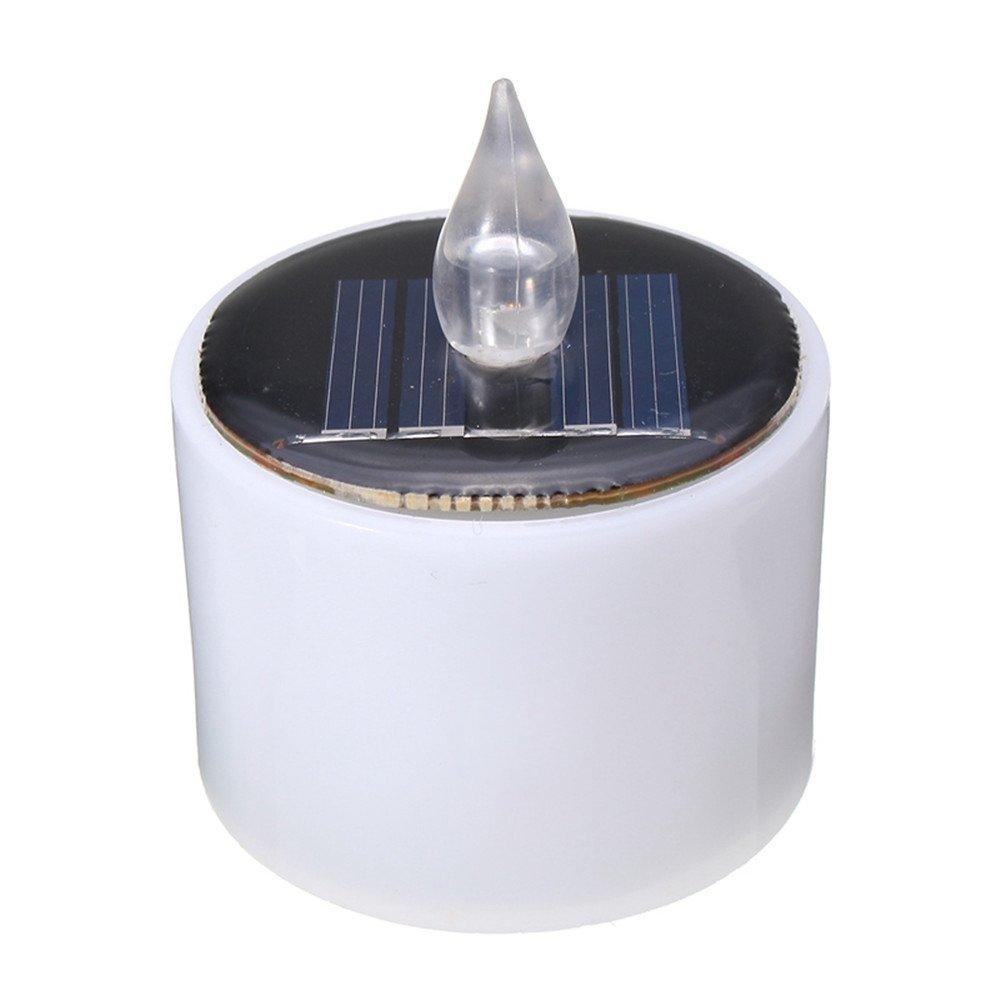 Nnycir LED Solaire Lumière Noël Énergie Batterie Chaud Flicker Sans Flamme Solaire Alimenté Clignotant Bougie Thé Lumière De Mariage Décor À La Maison (Color : Cool White)
