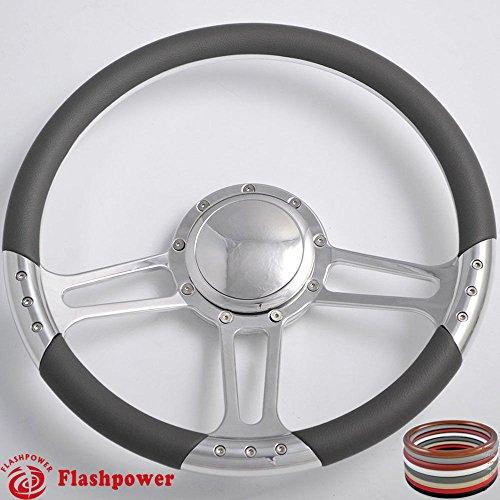 Black Flashpower 14 Billet Half Wrap 9 Bolts Steering Wheel with Horn Button