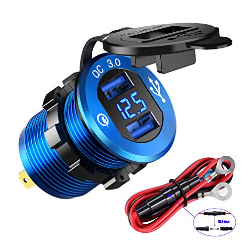 YONHAN Quick Charge 3.0 Dual USB Charger Socket, Waterproof Power Outlet Fast Charge with LED Voltmeter & Wire Fuse DIY Kit for 12V/24V Car Boat Marine ATV Bus Truck and More - Deep Blue (Charger Usb 12 Volt Marine)