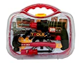 ODDODDY Kids Tool Box Set Kit for Kids Toddlers Boys 4 5 6 7 8 Years Old Bench Contruction Toy Case Plastic Hammer Drill Real Power Pretend Play Set with Tools