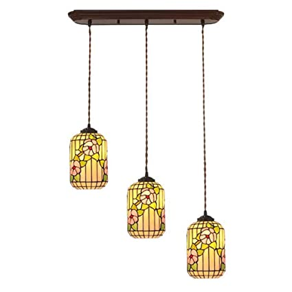 GJX Lámpara Colgante de Estilo Tiffany, arañas de Tres Cabezas con diseño de Flor de