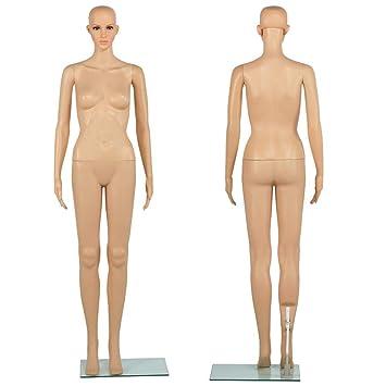 Yaheetech Mannequin Femme Vitrine Corps Entier Manipulable Maquillage Tête  Bras Pivotante 360 ° Piédestal Couleur Chair 427790f2cff